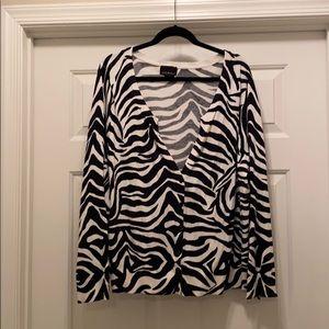 Lane Bryant Zebra Print V-neck cardigan, 22/24